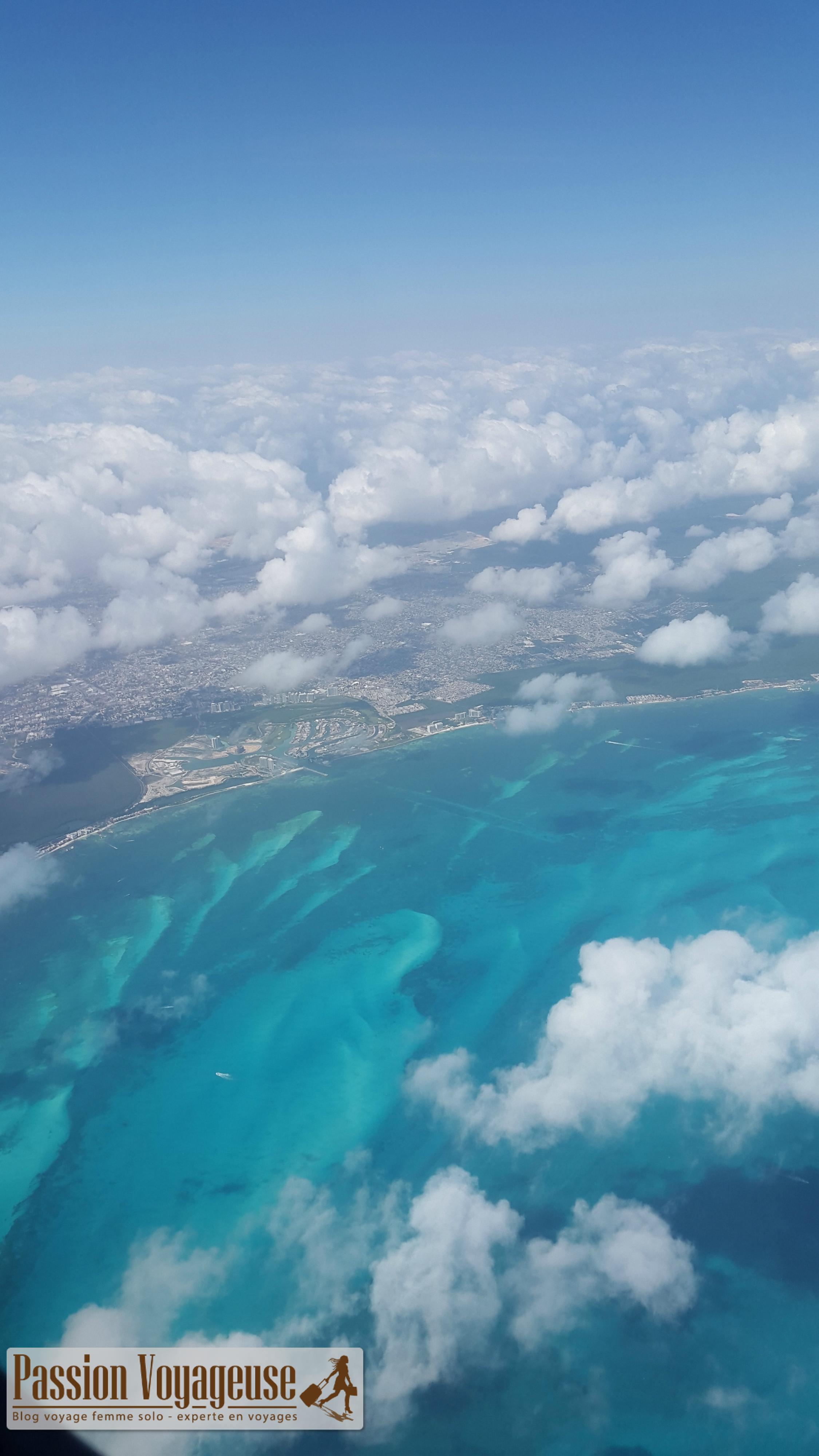 vue avion côte mexique