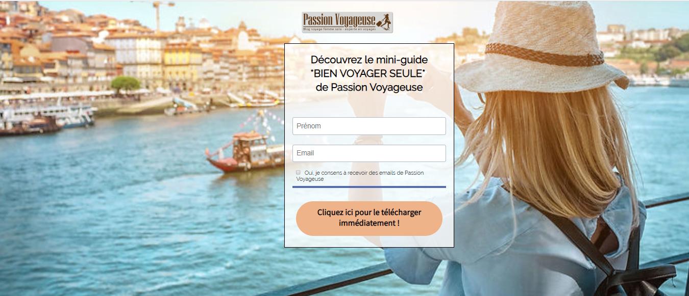 mini guide gratuit Passion Voyageuse Bien voyager seule